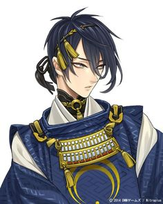 """Touken Ranbu: Sword man's introduction """"Mikazuki Munechika, honest personality because often laugh. Everything seems a little bit missing because big. Crescent, looking handsome, barrel and... I wholeheartedly Tokimeki near in the love at first sight (individual story) #刀剣乱舞 #とうらぶ"""