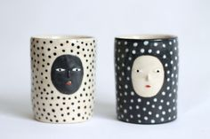 Kaonashi's Cousins - Polka dot ceramic glasses  - handleless cups - Ceramic one of a kind