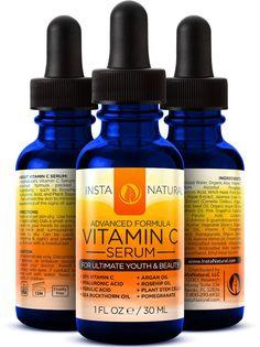 Vitamin C Serum for Face - Best Pure Vitamin C & Hyaluronic Acid Anti-Aging Liquid Facial Serum - With Organic Argan & Rosehip Oil, Vitamin E, Ferulic Acid & Seabuckthorn Oil - InstaNatural - 1 OZ Organic Skin Care, Natural Skin Care, Skin Peeling On Face, Eye Serum, Facial Serum, Facial Masks, Perfume, Vitamin C Serum, 1 Oz