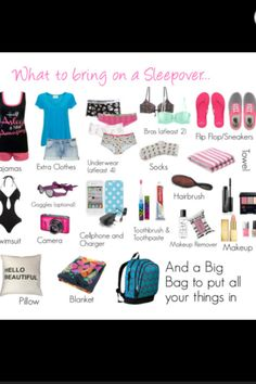 """Who brings 2 bras and 4 pairs of underwear to a sleepover. And goggles. """"Hello beautiful"""" pillow. I can't"""