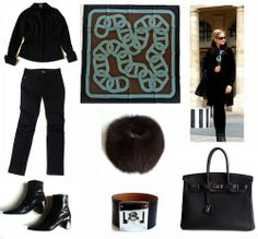 Black winter capsule with Hermes 'Circuit 24 Faubourg' scarf, Kelly Dog bracelet and Birkin bag