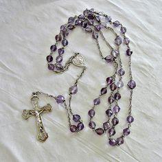 Antique Rosary Art Nouveau Silver Amethyst by SilverFoxAntiques
