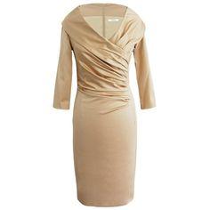 Elegantes Kleid in hellem Braun von Fashionart. Das Kleid mit Kragen ist seitlich gerafft, sehr schmal geschnitten und eignet sich perfekt für eine exklusive Gartenparty.