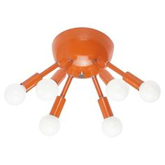 Orange Color Sputnik Flush Mount Lighting by Dutton Brown Low Ceiling Lighting, Flush Mount Lighting, Flush Mount Ceiling, Mid Century Bedroom, Mid Century Living Room, Orange Chandeliers, Light Orange, Orange Color, Mid Century Modern Lighting