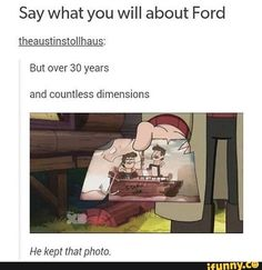 gravity animation Say what you will about Ford theaustinstollhaus: But over 30 years and countless dimensions He kept that photo. popular memes on the site Gravity Falls Funny, Gravity Falls Comics, Disney Channel, Itachi, Spongebob, Dipper Y Mabel, Dipper Pines, Fall Tumblr, Gavity Falls
