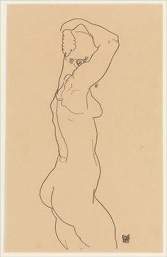 Egon Schiele | Standing Nude, Facing Right | The Met