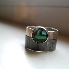 Rustic distressed sterling abalone rings by tinahdee on Etsy, $120.00