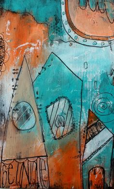 Graffiti Doodle Houses Aqua and Orange Be Unique by by JodiOhl, New in the shop today!