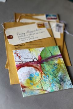 Tips för kort av Alyn Carlson Acrylic Painting Lessons, Oil Painting Abstract, Abstract Watercolor, Painting Art, Watercolor Artists, Mail Art, Art Sketchbook, Mix Media, Art Techniques