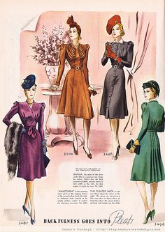 1940's 40s ladies dresses color photo illustration day evening glam purple gold black green print ad