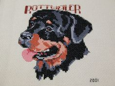 Rottweiler portrait finished cross stitch picture unframed
