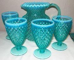 Fenton Robin Egg Blue Opal Hobnail Pitcher & 4 Goblets | eBay