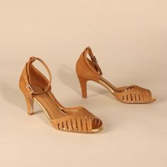 JOELLE Suede Tan & Gold | Emma Go My Emma, Long Toes, T Strap, Your Shoes, Peep Toe, Spring Summer, Heels, Gold, Leather