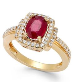 Round-Cut Ruby (1-1/2 ct. t.w.) and Diamond (1/3 ct. t.w.) Ring is in 14k Gold. Size 7.  Reg. Price: $839.00 at Macy's Temporary Price Cut: $499.00 at Macy's