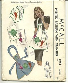 1946 McCall's #1251 Apron Pattern with Dancing Vegetables Applique. via TurpensPicks,etsy