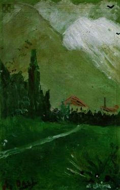 "Childhood painting by Salvador Dali about 6 years old: "" Landscape near Figueras"", 1910."