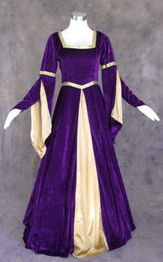 Make your appearance at the royal court in this lovely purple medieval dress