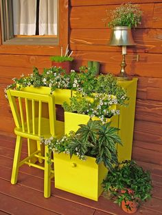 Turn an old desk or dresser into a charming garden by tucking small bushy and trailing plants into the partly opened drawers. Complete the look by popping plants into desk accessories, such as a pencil holder, an old telephone or a small desk lamp. Design by Nancy Ondra