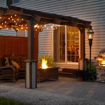 Small back yard and patio but Big impact. A little privacy as well.