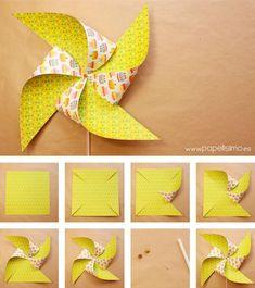 Como-hacer-molinillos-de-papel-que-gira-DIY–paper-Pinwheels How-to-make-paper-mills-that-turns-DIY – paper-Pinwheels Paper Crafts Origami, Diy Origami, Diy Paper, Paper Art, Preschool Crafts, Fun Crafts, Diy And Crafts, Diy For Kids, Crafts For Kids