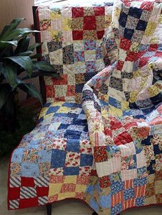 Square Dance Quilt - I love the country, cozy look of a nine patch!.