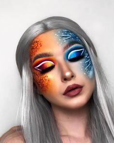 Eye Makeup Designs, Eye Makeup Art, Colorful Eye Makeup, Rainbow Makeup, Colorful Eyeshadow, Beauty Makeup, Crazy Makeup, Cute Makeup, Maquillage Cut Crease