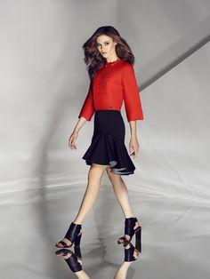 Orange top & ruffle skirt