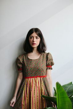60s Floral Mini Dress Yellow  Red by tomorrowisforever on Etsy