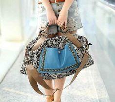 tas wanita retro printing korean style