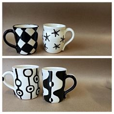 """B Clay"" mugs by the talented, Penny Woolsey of the Colorado Potters Guild"
