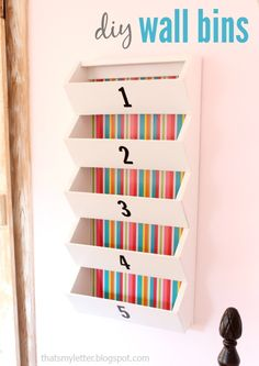 """That's My Letter: """"W"""" is for Wall Bins, diy wall bins with free plans @knockoffwood"""
