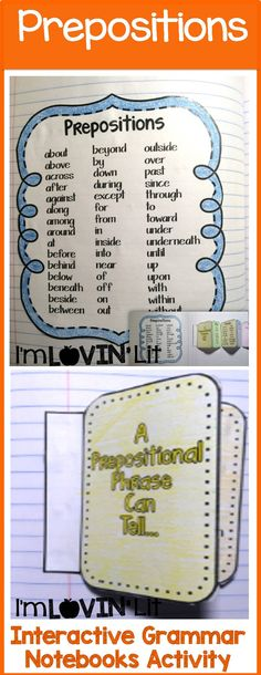 Prepositions Interactive Notebook Activity, Foldable, Organizer, Lesson