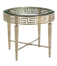 Lexington Tower Place, Round Lamp Table with Greek Motif and leg shapes