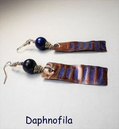 Blue sky of Greece, Copper earrings, Handmade earrings, Greek fashion, Daphnofila earrings, Inspiration and creation, Copper jewelry, Jewels by Daphnofila on Etsy