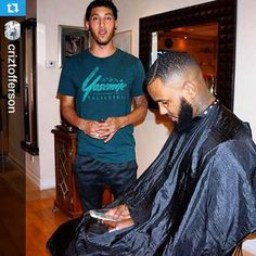 @criztofferson with The Game using the iCape! Stay Connected. Text, email and surf while getting your hair styled.   #iCape #TheGame #barber #barbershop #kickstarter #rapper #hairstylist #salon