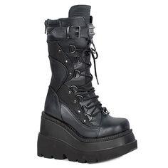 ea00b8686284 SHAKER-70 Black Wedge Womens Gothic Platform Boots by Demonia. Black  stacked heel Demonia