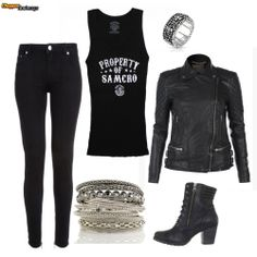 Outfit created by #chopperexchange. Tank and ring found at #bikerornot. Leather jacket at #muuba.  #ladyriders #rideon #SOA - Click on the image to check out more biker apparel at Store.BikerOrNot.com.