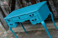 Teal french provincial vanity by FunCycled  www.funcycled.com
