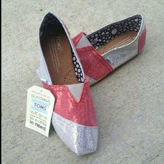 Shoes Brand new Toms, red and white, size 10 runs a little small TOMS Shoes