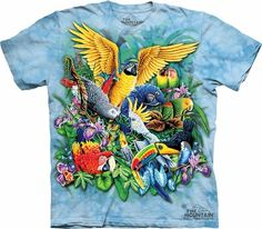 Birds of the Tropics Shirt - $18.95 - A colorful array of feathered friends flit across this tee, bringing to mind warm island breezes and lush, green paradise.