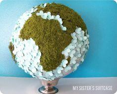 zelluf doen! | wereldbol gemaakt van mos en papieren bloemtjes Door rian29912