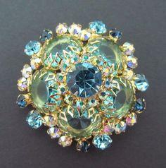 Vintage Verified Rare D&E Juliana Multicolor AB Green Blue Rhinestone Brooch Pin #Juliana