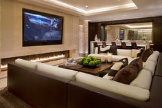 Media room seating ideas are just a part from the design of a media room or a home cinema. A media room which is especially designed features special Ideas Decoracion Salon, Linear Fireplace, Tv Fireplace, Modern Fireplace, Fireplace Ideas, Fireplace Facing, Fireplace Design, Fireplace Lighting, Ethanol Fireplace