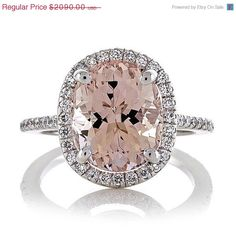 Want!!!  40% OFF SALES EVENT 14kt White Gold  Morganite Engagement Ring 2.26ct Oval Peach-Pink and Diamond Halo .50tw  Wedding Ring  Anniversary Ring
