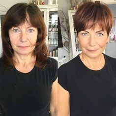 Brown Pixie With Bangs For Older Ladies frisuren feines haar vorher nachher 9 Hair Stylist's Tips for Looking Younger Trendy Haircut, Haircut For Older Women, Haircut Short, Short Bangs, Pixie Pony, Edgy Pixie Haircuts, Short Wavy Pixie, Thin Wavy Hair, Pixie Haircut Styles