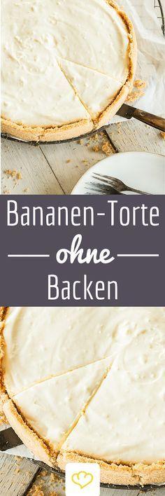 No-Bake Bananentorte: Crunchy Keksboden trifft  Bananencreme - dieser Tortentraum ist ruckzuck zusammengerührt, und das Beste - der Ofen kann dabei aus bleiben. (Dessert Recipes No Bake)