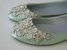 Items similar to Spring Garden Bridal Ballet Flats Wedding Shoes - Any Size - Pick your own shoe color and crystal color on Etsy Diy Wedding Shoes, Green Wedding Shoes, Bridal Shoes, Wedding Heels, Wedding Slippers, Cute Shoes, Me Too Shoes, Pretty Shoes, Beautiful Shoes