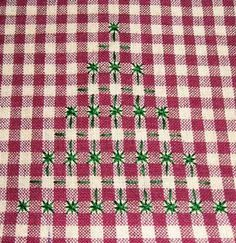 Hand Embroidery on Gingham - Christmas Trees