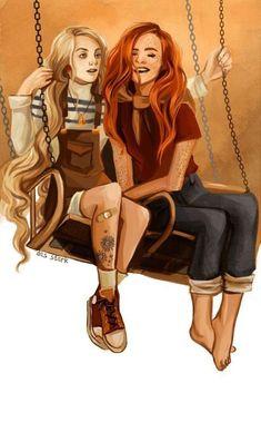 2 best friends (I think) Ginny Weasley and Luna Lovegood! Harry Potter Anime, Harry Potter Fan Art, Harry Potter Couples, Harry Potter Drawings, Harry Potter Ships, Harry Potter Pictures, Harry Potter Universal, Harry Potter Fandom, Harry Potter Characters
