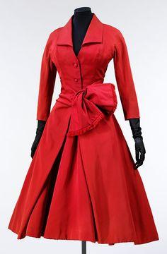 Silk faille cocktail dress, 'Ecarlate' ('Scarlet'), Designed by Christian Dior, Paris, Autumn/winter 1955-6.